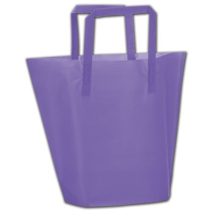 """Purple Frosted High-Density Trapezoid Shoppers, 13x10""""+3"""""""