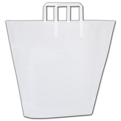 """Clear Frosted Trapezoid Shoppers, 18 x 13 1/2"""" + 4 1/2"""" BG"""