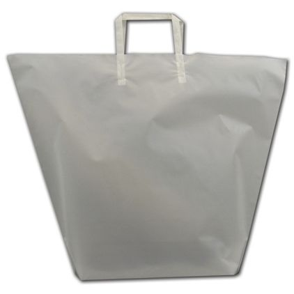 """Clear Frosted Trapezoid Shoppers, 22 x 17"""" + 5 1/2"""" BG"""