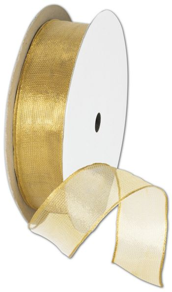 Wire Edge Magic Wand Gold Ribbon, 7/8
