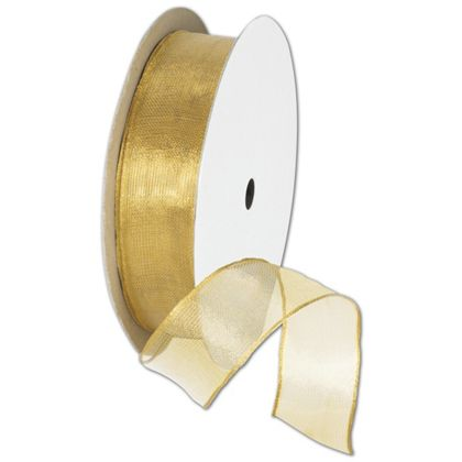 "Wire Edge Magic Wand Gold Ribbon, 7/8"" x 15 Yds"