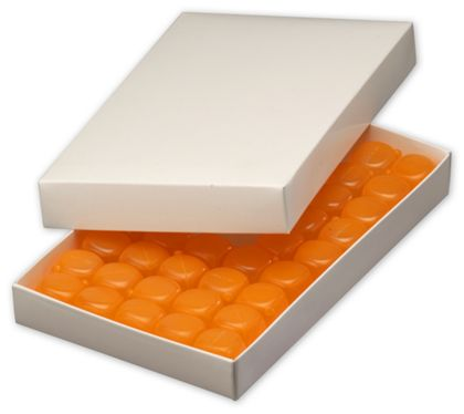 White Two-Piece Candy Boxes, 9 3/8 x 5 5/8 x 1 1/8""