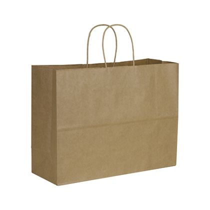 Kraft Paper Shoppers Vogue, 16 x 6 x 12 1/2