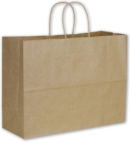 Recycled Kraft Paper Shoppers Vogue, 16 x 6 x 12 1/2""