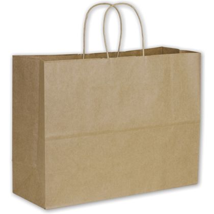 Recycled Kraft Paper Shoppers Vogue, 16 x 6 x 12 1/2