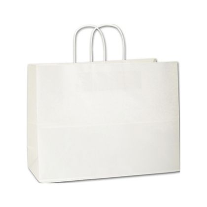Recycled White Kraft Paper Shoppers Vogue, 16 x 6 x 12 1/2
