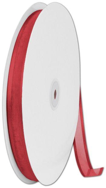 Organza Satin Edge Red Ribbon, 5/8