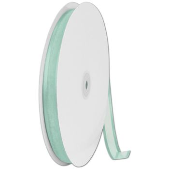 Organza Satin Edge Aqua Ribbon, 5/8