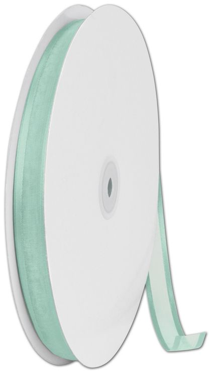 "Organza Satin Edge Aqua Ribbon, 5/8"" x 100 Yds"