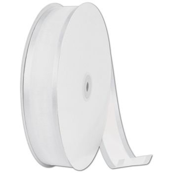 Organza Satin Edge White Ribbon, 1 1/2