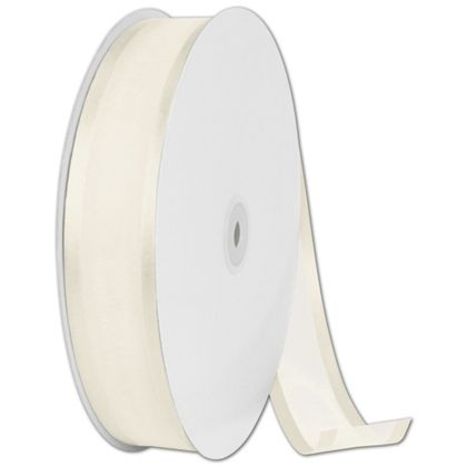 "Organza Satin Edge Ivory Ribbon, 1 1/2"" x 100 Yds"