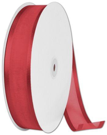 Organza Satin Edge Red Ribbon, 1 1/2