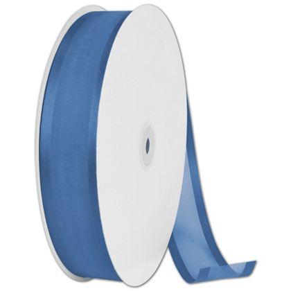 "Organza Satin Edge Navy Blue Ribbon, 1 1/2"" x 100 Yds"