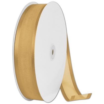 "Organza Satin Edge Gold Ribbon, 1 1/2"" x 100 Yds"