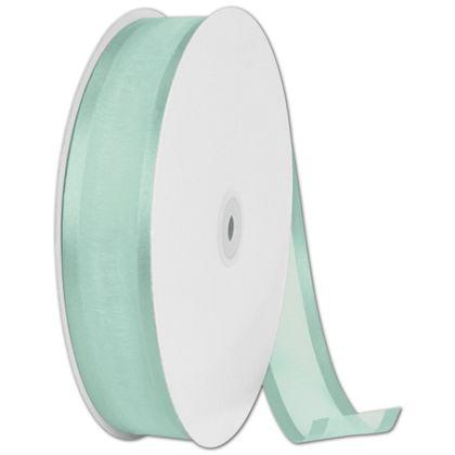 """Organza Satin Edge Aqua Ribbon, 1 1/2"""" x 100 Yds"""