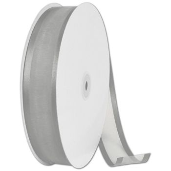Organza Satin Edge Silver Ribbon, 1 1/2
