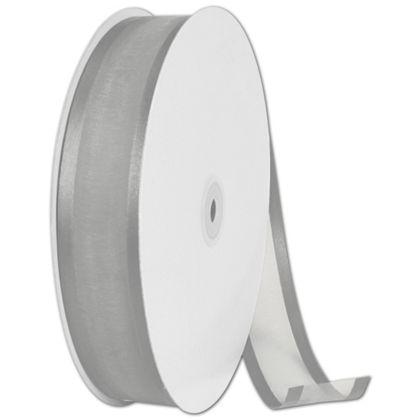 "Organza Satin Edge Silver Ribbon, 1 1/2"" x 100 Yds"