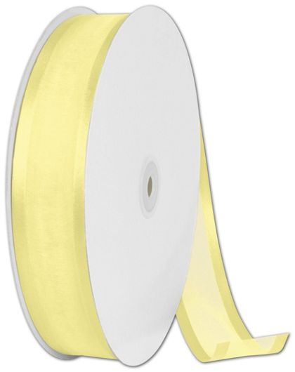 "Organza Satin Edge Yellow Ribbon, 1 1/2"" x 100 Yds"