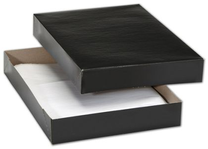 Black Premium Two-Piece Apparel Boxes, 11 1/2x8 1/2x1 5/8""