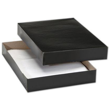 "Black Premium Two-Piece Apparel Boxes, 11 1/2x8 1/2x1 5/8"""
