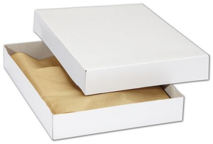 White Premium Two-Piece Apparel Boxes, 11 1/2x8 1/2x1 5/8""