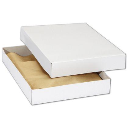 "White Premium Two-Piece Apparel Boxes, 11 1/2x8 1/2x1 5/8"""