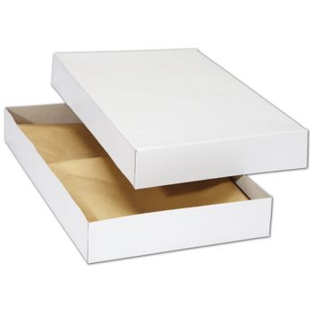 White Premium Two-Piece Apparel Boxes, 15 1/2 x 9 1/4 x 2