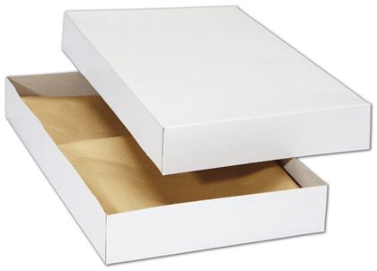 White Premium Two-Piece Apparel Boxes, 15 1/2 x 9 1/4 x 2""