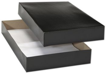 Black Premium Two-Piece Apparel Boxes, 17 x 11 x 2 1/2
