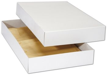 White Premium Two-Piece Apparel Boxes, 17 x 11 x 2 1/2
