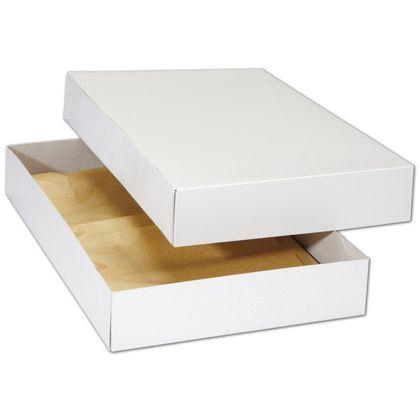 "White Premium Two-Piece Apparel Boxes, 17 x 11 x 2 1/2"""