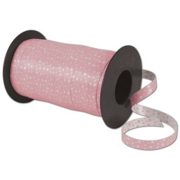 Curling Reversible Dots Pink Ribbon, 3/8
