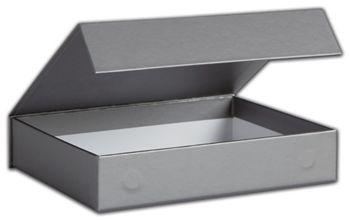 Silver Malibu Magnetic Boxes, 7 1/4 x 5 1/2 x 1 1/2