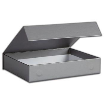 Silver Malibu Magnetic Boxes, 7 1/4 x 5 1/2 x 1 3/8