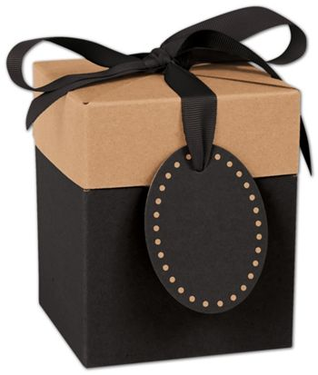Black & Kraft Giftalicious Pop-Up Boxes, 4 x 4 x 4 3/4