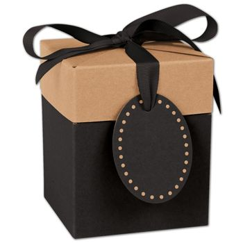 Black & Kraft Giftalicious Pop-Up Boxes, 4 x 4 x 4 3/4""