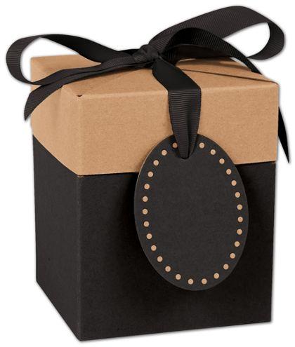 "Black & Kraft Giftalicious Pop-Up Boxes, 4 x 4 x 4 3/4"""