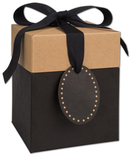 Black & Kraft Giftalicious Pop-Up Boxes, 5 x 5 x 6""