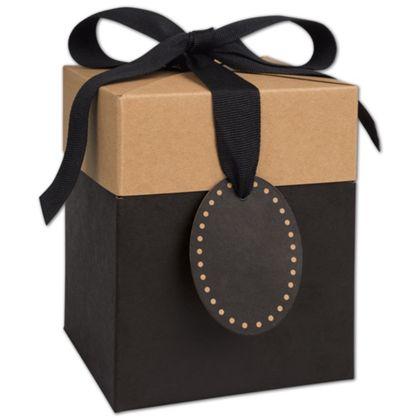 "Black & Kraft Giftalicious Pop-Up Boxes, 5 x 5 x 6"""