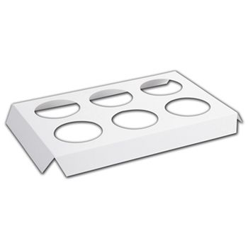 "White 6-Hole Tin Inserts, 7 1/8x5 3/8x3/4"" 2"" Dia Hole"