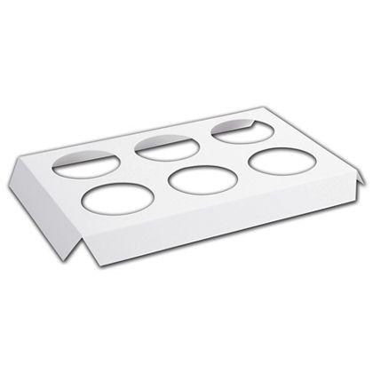 "White 6-Hole Tin Inserts, 7 1/8x5 3/8x3/4"" 2"" Dia Hole"