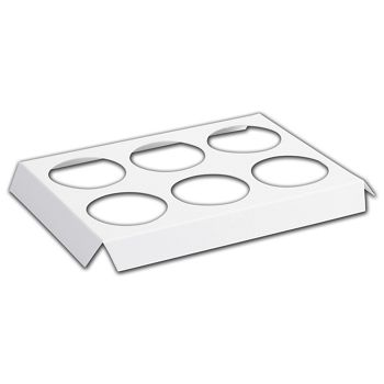 "White 6-Hole Tin Inserts, 10 3/4x7 1/8x1"" 2 1/2"" Dia Hole"