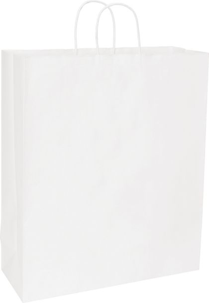 Recycled White Kraft Paper Shoppers Queen, 16 x 6 x 19""