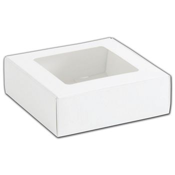 White Foodie Square Folding Boxes with Window, 6 x 6 x 2""