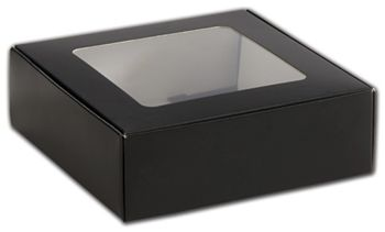 Black Foodie Square Folding Boxes with Window, 6 x 6 x 2