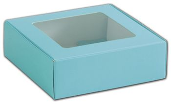 Blue Foodie Square Folding Boxes with Window, 6 x 6 x 2