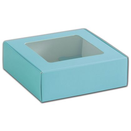 Blue Foodie Square Folding Boxes with Window, 6 x 6 x 2""
