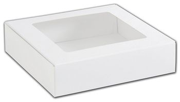 White Foodie Square Folding Boxes with Window, 8 x 8 x 2