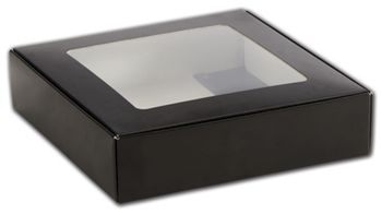 Black Foodie Square Folding Boxes with Window, 8 x 8 x 2