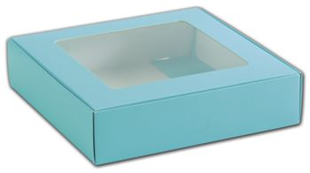 Blue Foodie Square Folding Boxes with Window, 8 x 8 x 2